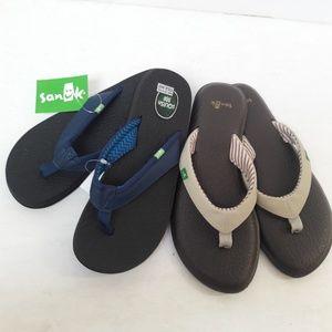 2 x New Pairs Sanuk Flip Flops Size 6